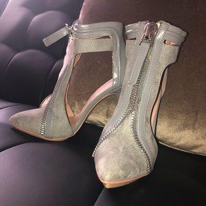 Gray suede zip up pumps – size 6. Never worn!